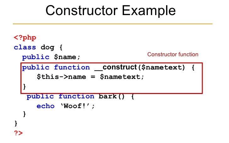 simple constructor example in PHP